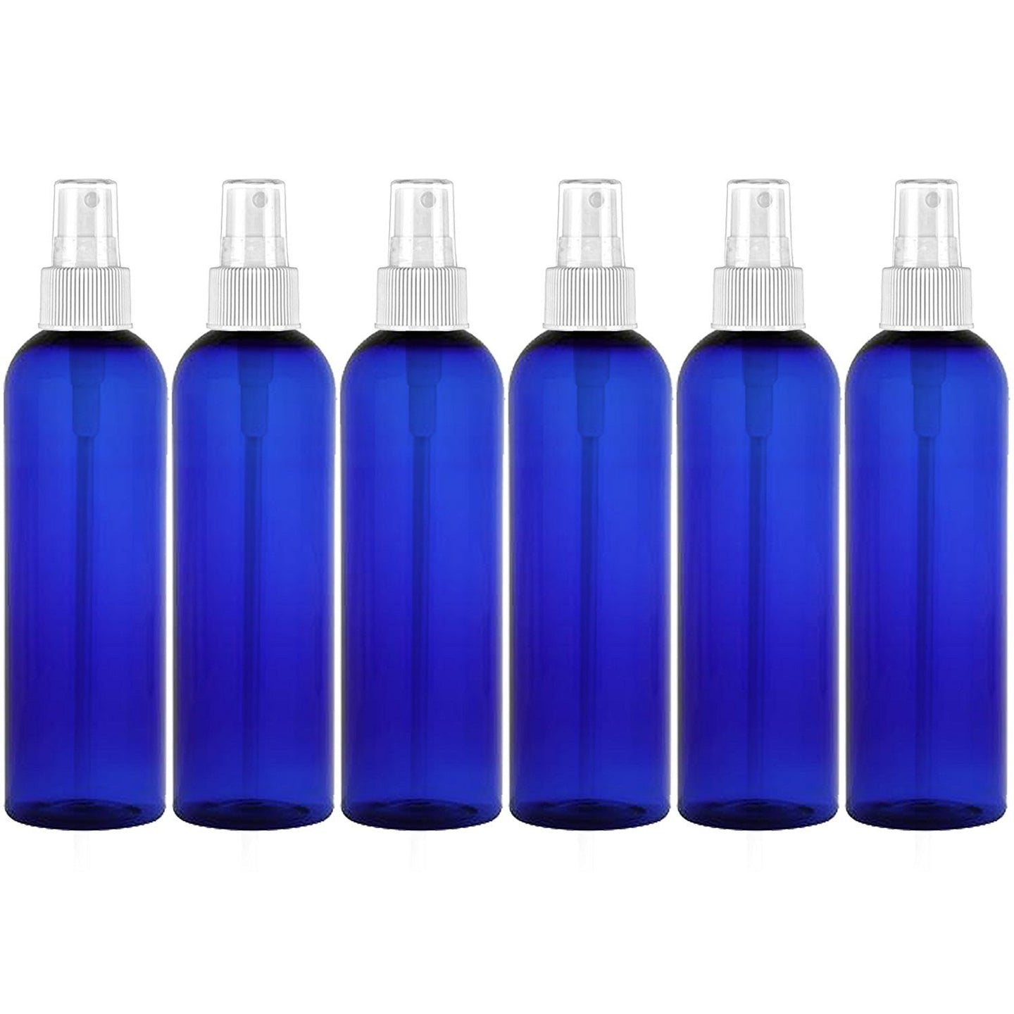 MoYo Natural Labs 8 oz Spray Bottle, Fine Mist Empty Travel Containers, BPA Free PET Plastic for Essential Oils and Liquids/Cosmetics (6 Pack, Cobalt Blue)