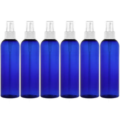 8 Oz NO LEAK LARGE PET FINE MIST SPRAY BOTTLE - Blue 6 Pack
