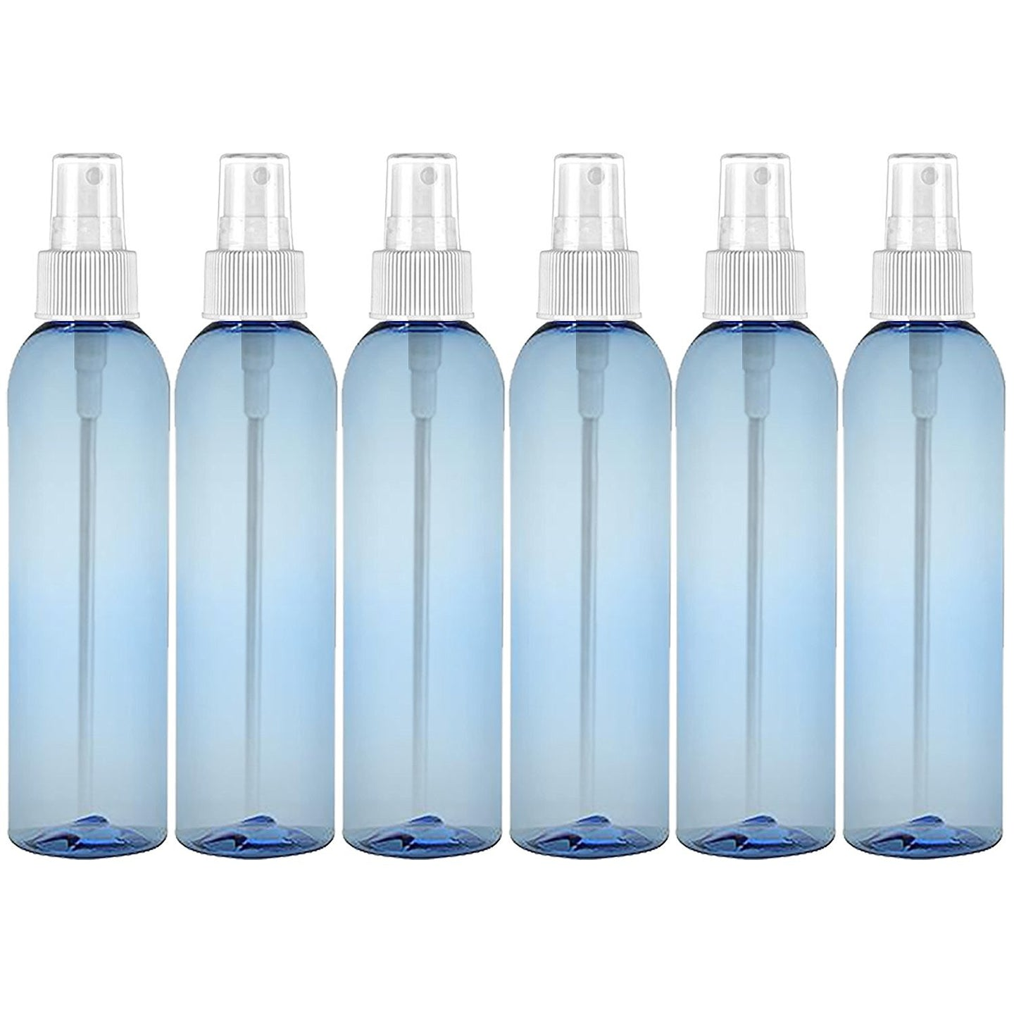 MoYo Natural Labs 8 oz Spray Bottle, Fine Mist Empty Travel Containers, BPA Free PET Plastic for Essential Oils and Liquids/Cosmetics (6 Pack, Light Blue)
