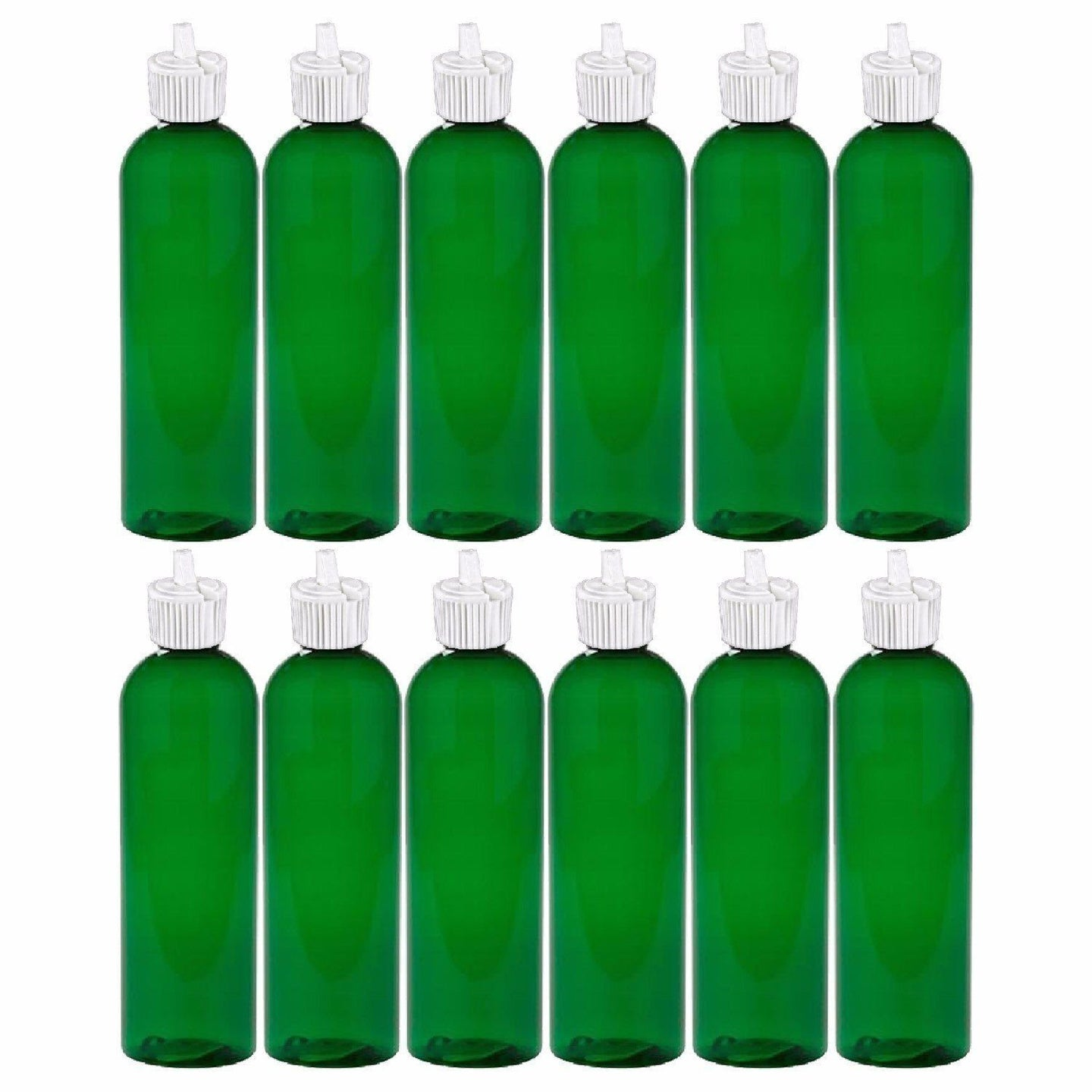 MoYo Natural Labs 4 oz Squirt Bottles, Squeezable Empty Travel Containers, BPA Free PET Plastic for Essential Oils and Liquids, Toiletry/Cosmetic Bottles (Neck 20-410) (Pack of 12, Green)