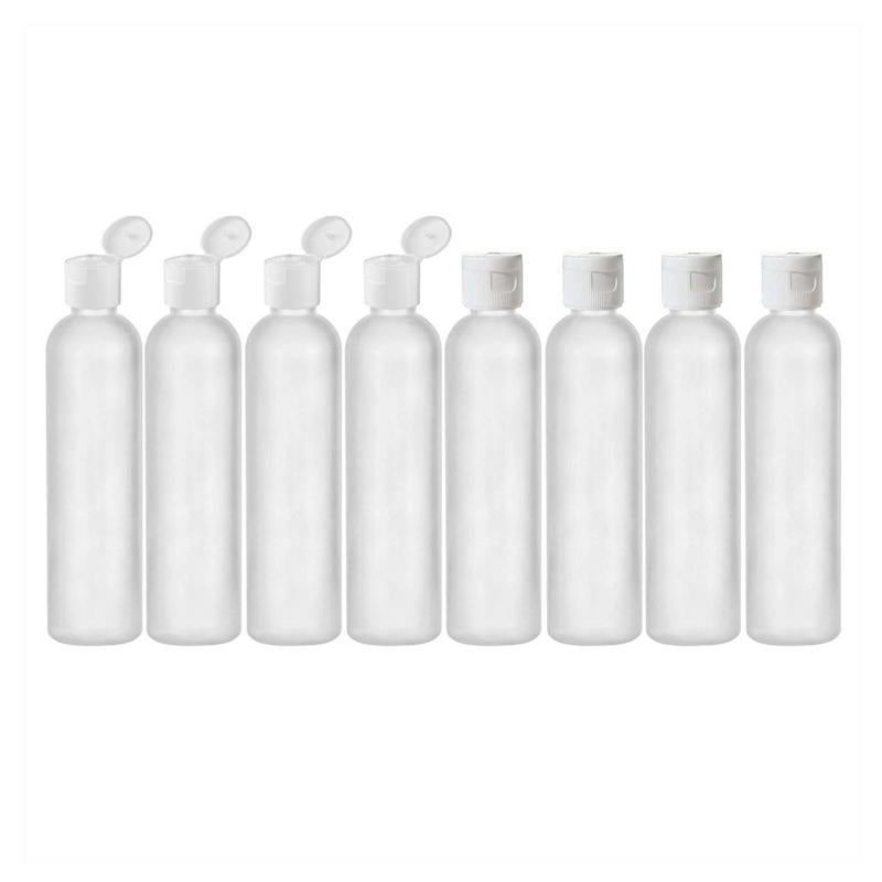 MoYo Natural Labs 8 oz Travel Bottles, Empty Travel Containers with Flip Caps, BPA Free HDPE Plastic Squeezable Toiletry/Cosmetic Bottles (Pack of 8, Translucent White)