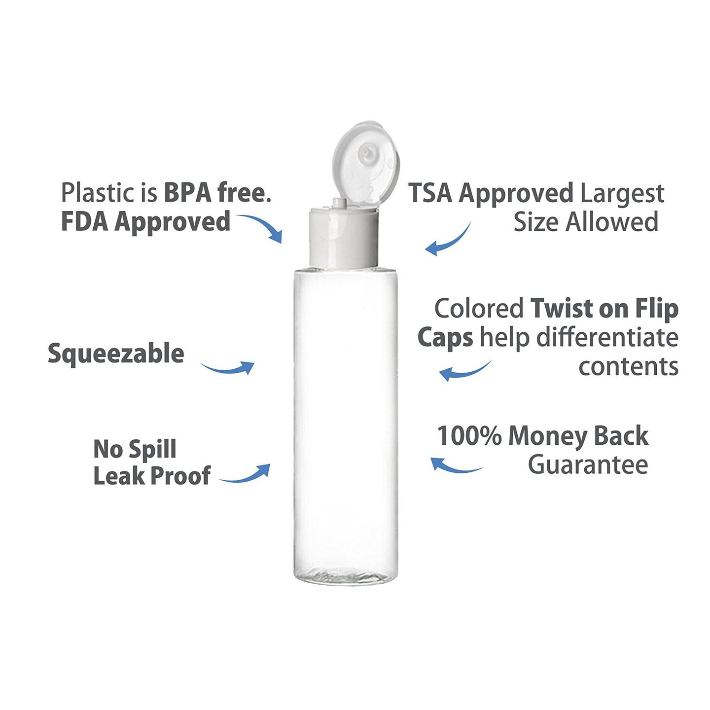 9 Piece 3.4 Oz Squeezable Large Travel Bottle - White