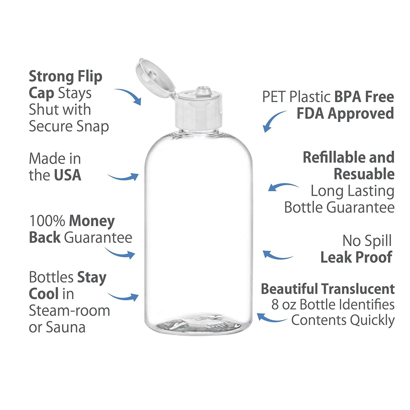 MoYo Natural Labs 8 oz Boston Round Travel Bottles, Empty Travel Containers with Flip Caps, BPA Free PET Plastic Refillable Toiletry/Cosmetic Bottle (Pack of 6, Clear)