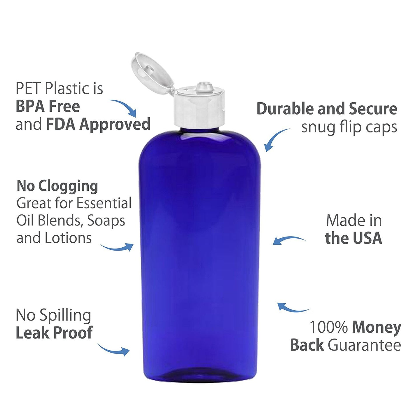 MoYo Natural Labs 8 oz Flip Cap Bottles, Empty Containers for Shampoo or Lotions, BPA Free PET Plastic Squeezable Toiletry/Cosmetic Bottles (3 pack, Cobalt Blue)