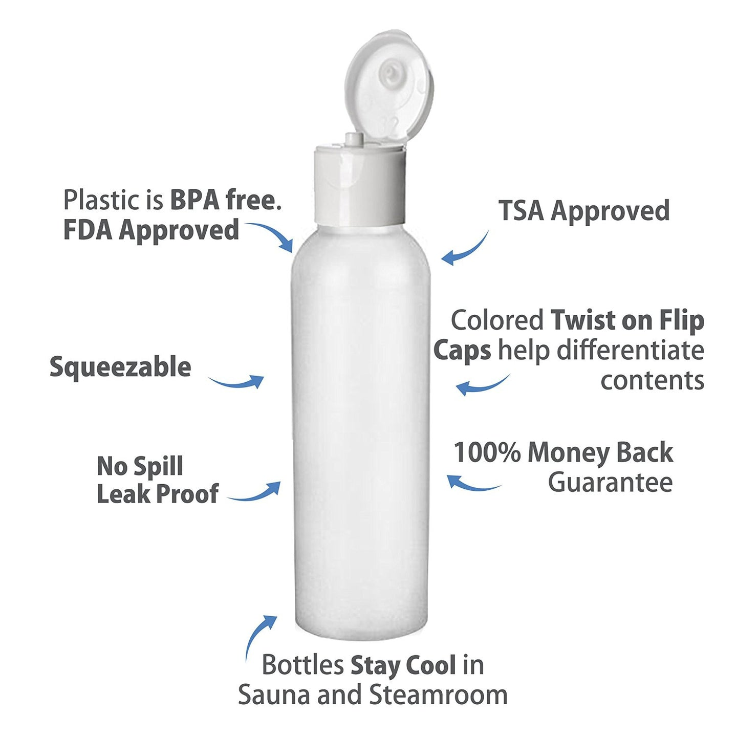 2 Oz HDPE Flip Cap Empty Travel Bottles - Translucent 30 pack