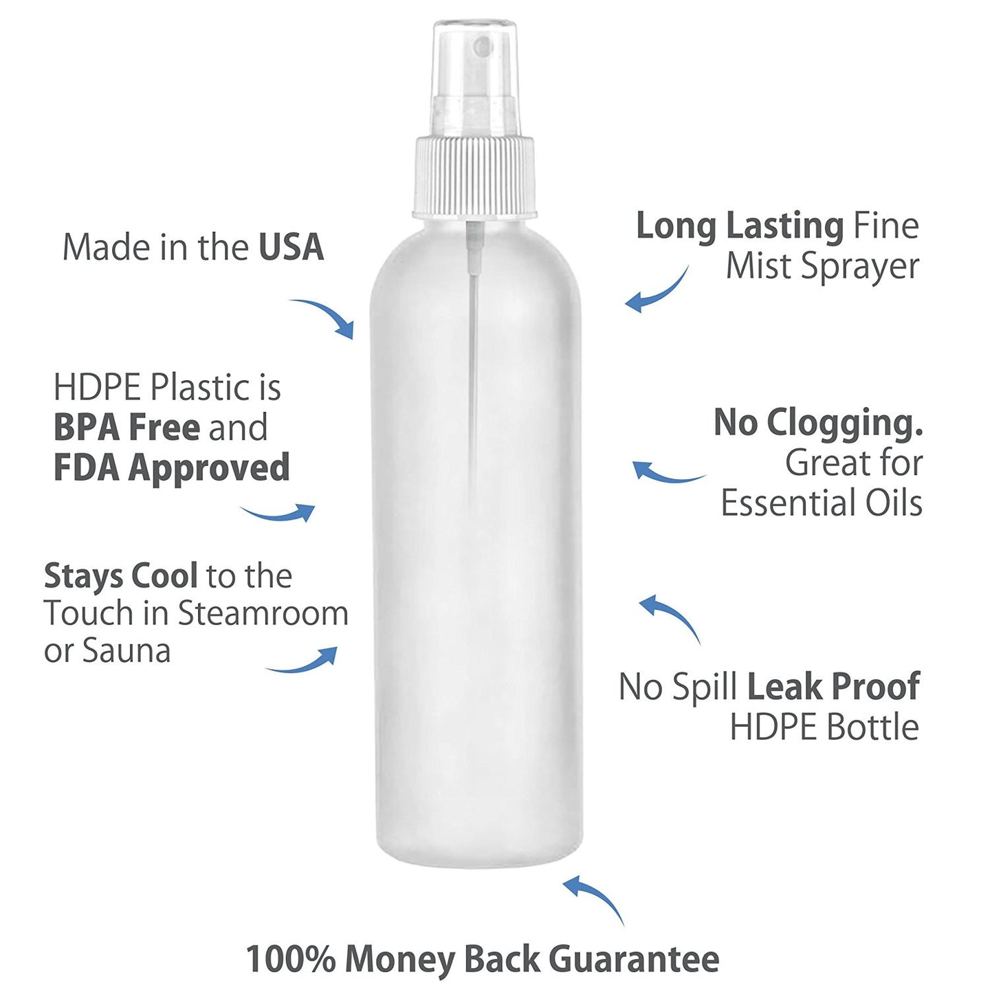 MoYo Natural Labs 4 oz Spray Bottles Fine Mist Empty Travel Containers, BPA Free HDPE Plastic for Essential Oils and Liquids/Cosmetics (Neck 20-410) (Pack of 4, Translucent HDPE Bottle White Spray)