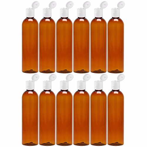 MoYo Natural Labs 8 oz Travel Bottles, Empty Travel Containers with Flip Caps, BPA Free PET Plastic Squeezable Toiletry/Cosmetic Bottles (pack of 12, Amber)