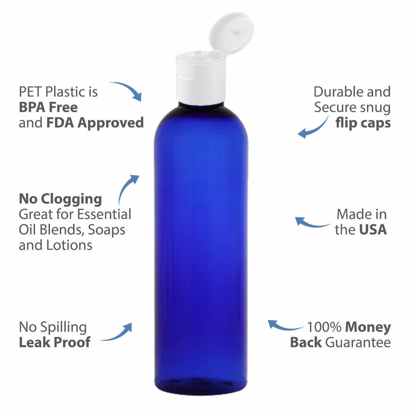 MoYo Natural Labs 8 oz Travel Bottle, Empty Travel Containers with Flip Caps, BPA Free PET Plastic Squeezable Toiletry/Cosmetic Bottle (pack of 50, Cobalt Blue)