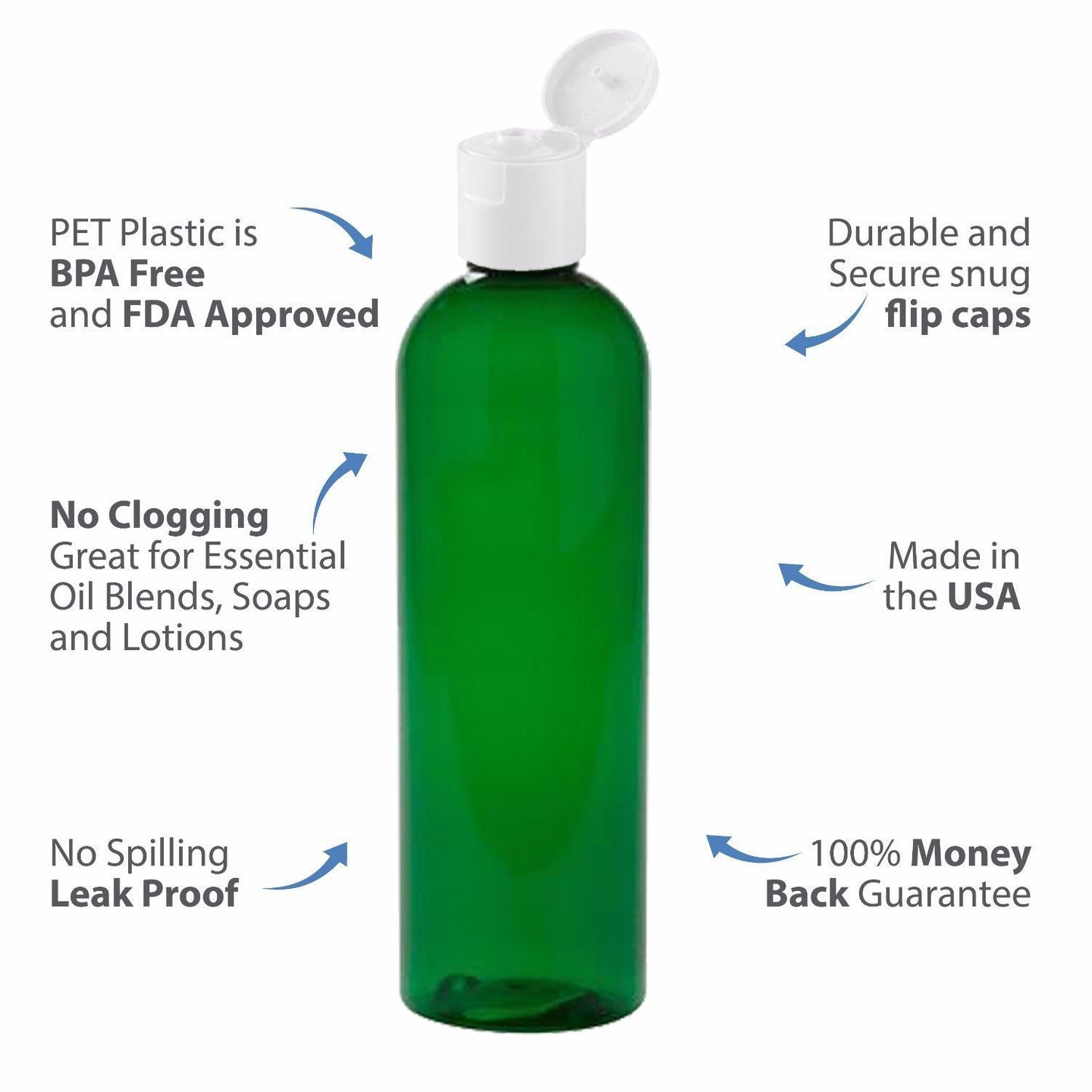 MoYo Natural Labs 8 oz Travel Bottle, Empty Travel Containers with Flip Caps, BPA Free PET Plastic Squeezable Toiletry/Cosmetic Bottle (1 pack, Forest Green)
