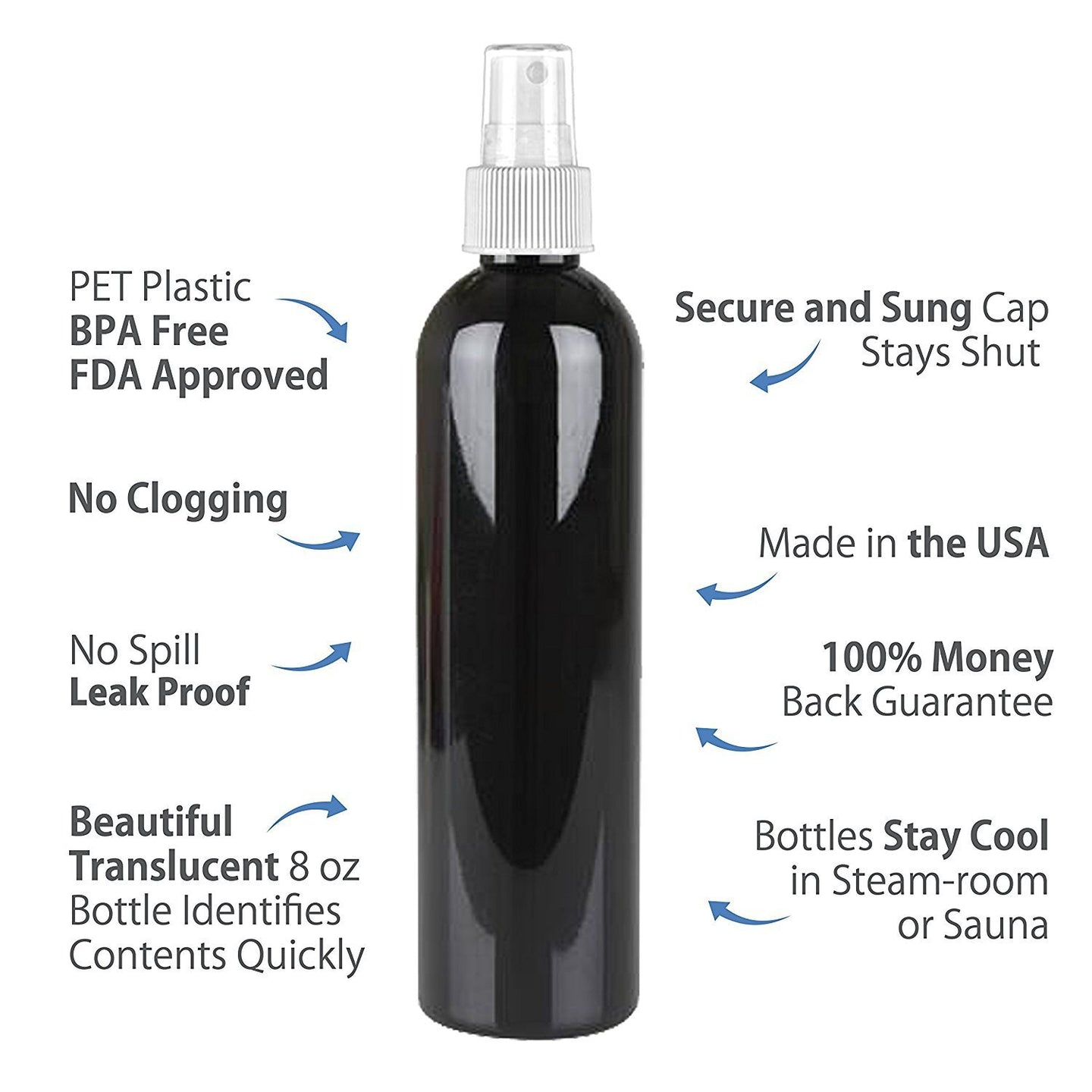 MoYo Natural Labs 8 oz Spray Bottles, Fine Mist Empty Travel Containers, BPA Free PET Plastic for Essential Oils and Liquids/Cosmetics (2 pack, Black)