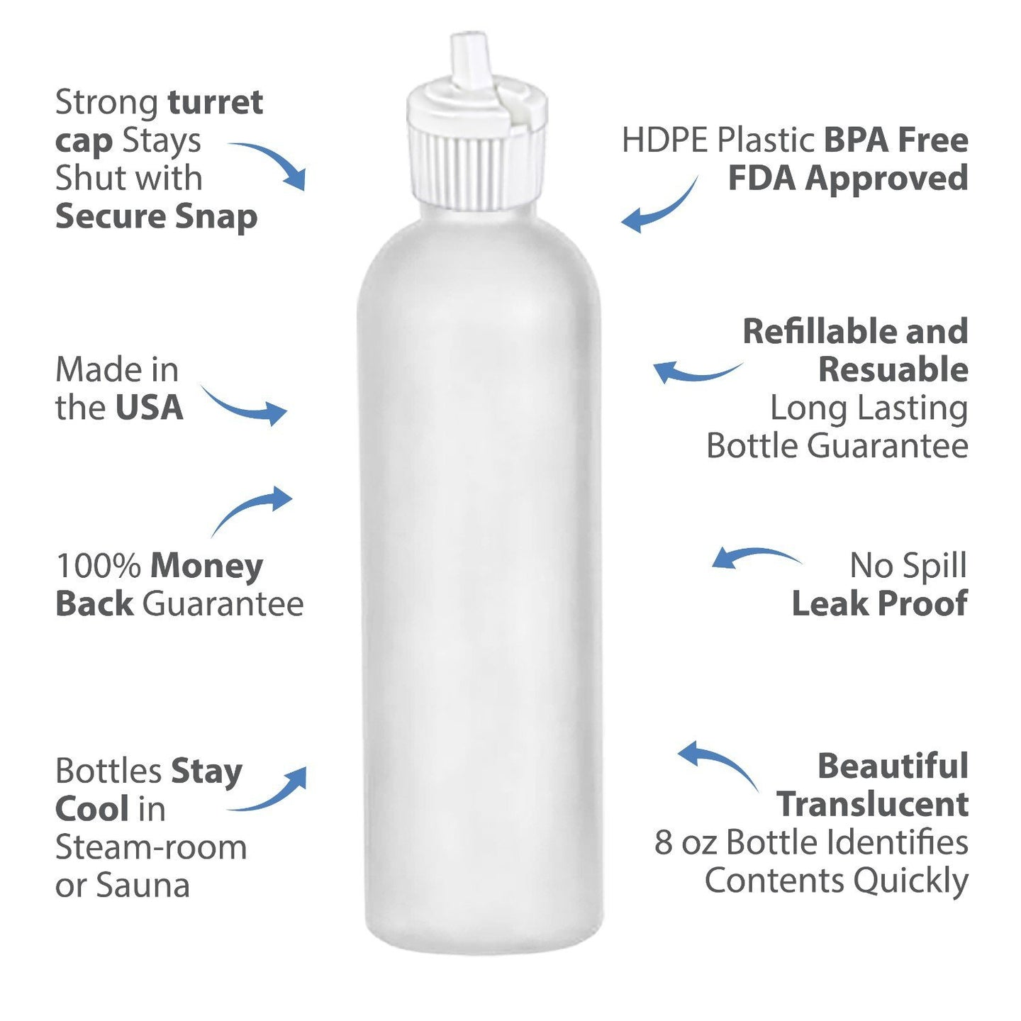 MoYo Natural Labs 8 oz Squirt Bottles, Squeezable Empty Travel Containers, Toggle Spout BPA Free HDPE Plastic Essential Oils Liquids, Toiletry/Cosmetic Bottles (20-410) (Pack of 4, Translucent White)