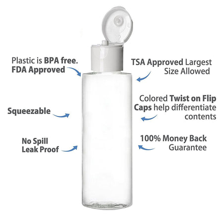 MoYo Natural Labs 3.4 oz TSA Approved BPA Free Travel Bottle With Sturdy Flip Tops Made In The USA Clear Travel Container 100ml Travel Bottles (Pack of 6)