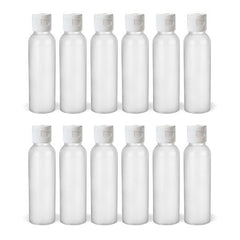 2 Oz HDPE Flip Cap Empty Travel Bottles - Translucent 12 pack