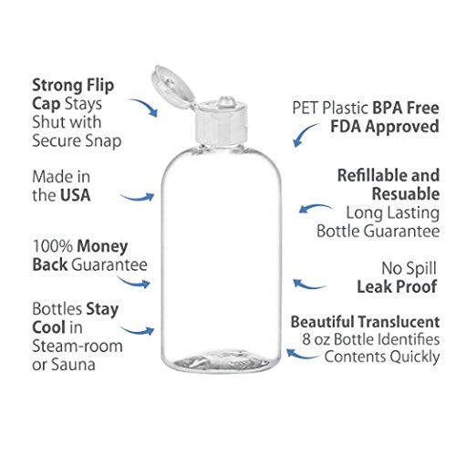 8 oz PET Empty Boston Round Bottle with Flip Cap - Clear 1 Pack