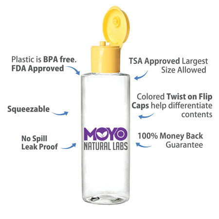 MoYo Natural Labs Large 3.4 oz TSA Approved Squeezable Travel Size Bottle Pack with Flip Cap 5 out of 5 Stars BPA Free Empty Travel Bottle Kit Made in USA (Pack of 6, Clear)