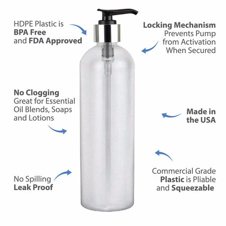MoYo Natural Labs 16 oz Pump Dispenser, Empty Soap and Lotion Bottle with Locking Cap, BPA Free HDPE Plastic Containers for Essential Oils/Liquids (Pack of 100, Translucent White)