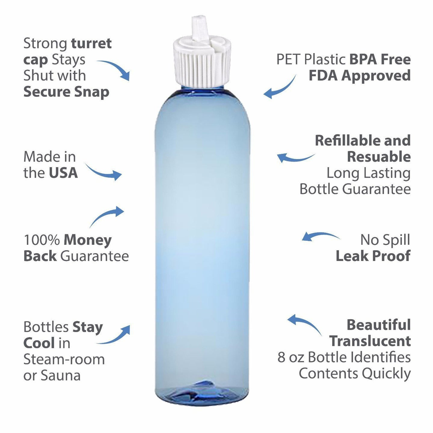 MoYo Natural Labs Turret Spout 8 oz Empty Liquid Bottle with Adjustable Dispenser (Pack of 6, Light Blue)