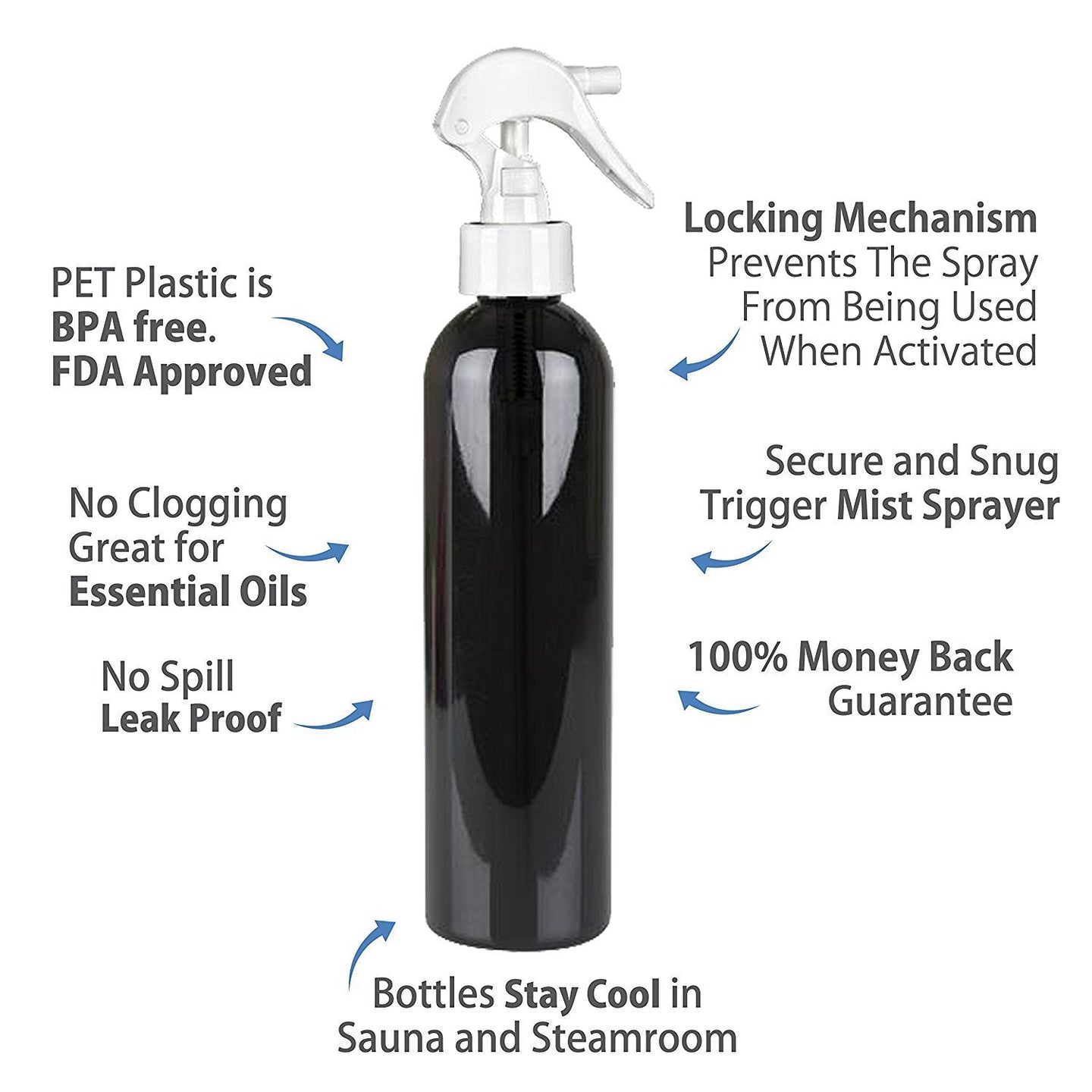 MoYo Natural Labs 8 oz Spray Bottles, Trigger Sprayer Empty Travel Containers, BPA Free PET Plastic for Essential Oils and Liquids/Cosmetics (Pack of 1, Black)