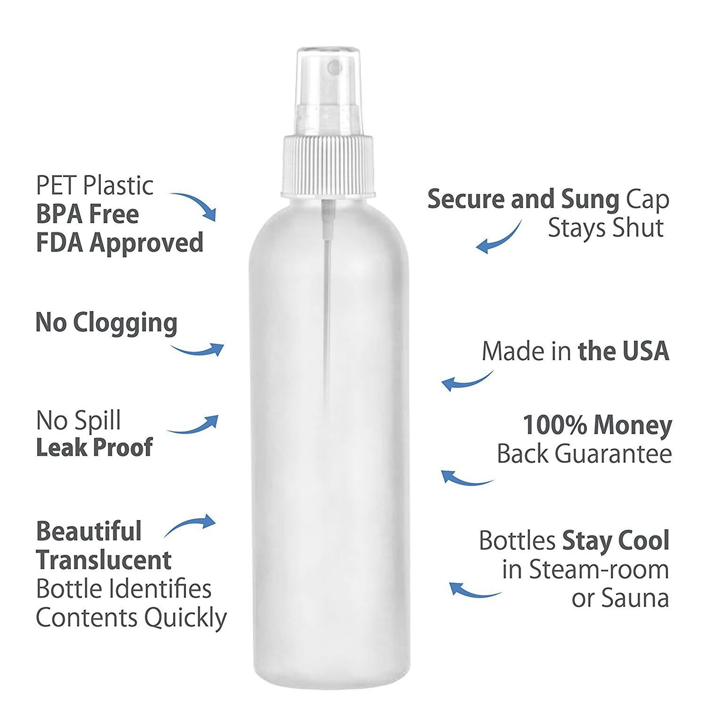 MoYo Natural Labs 8 oz Spray Bottles Fine Mist Empty Travel Containers, BPA Free PET Plastic for Essential Oils and Liquids/Cosmetics (Pack of 100, HDPE Translucent White)