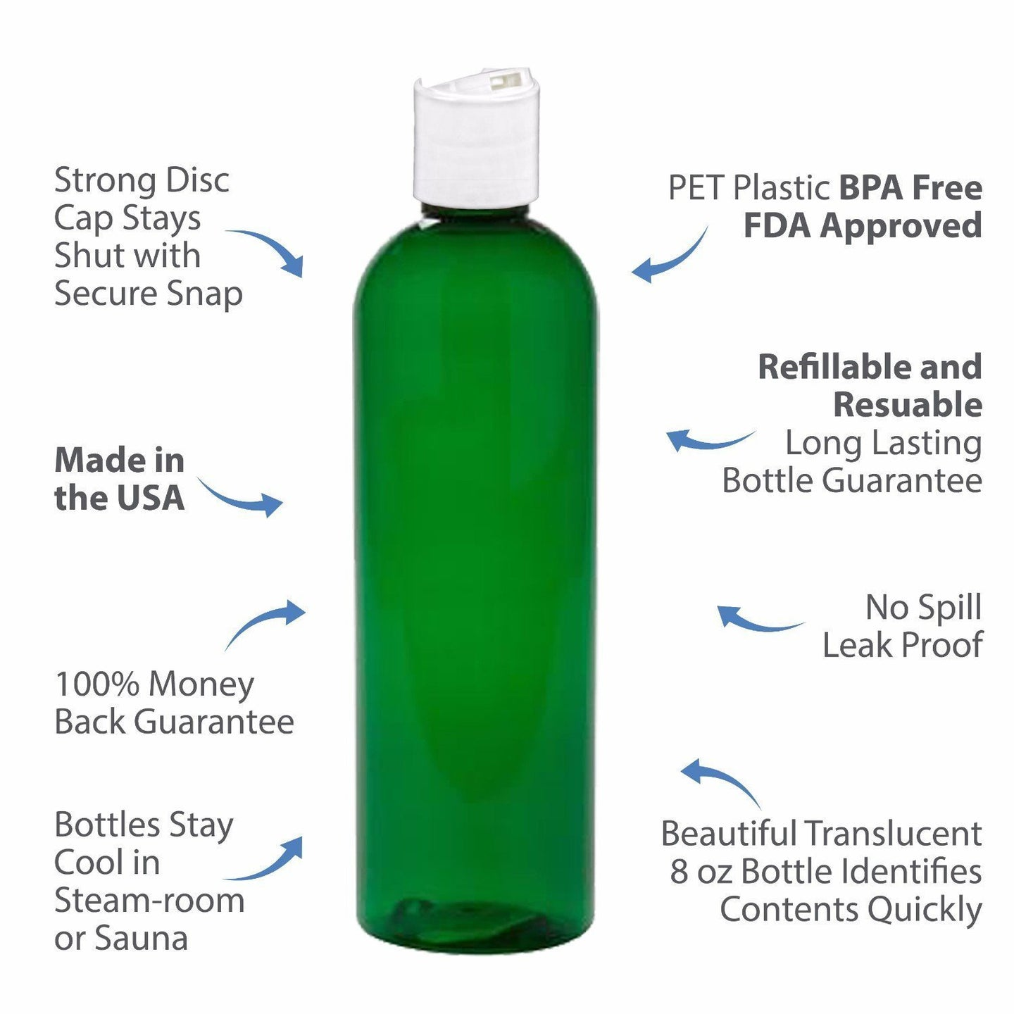 MoYo Natural Labs 8 oz Travel Bottles, Empty Travel Containers with Disc Caps, BPA Free PET Plastic Squeezable Toiletry/Cosmetic Bottles (Pack of 8, Green)