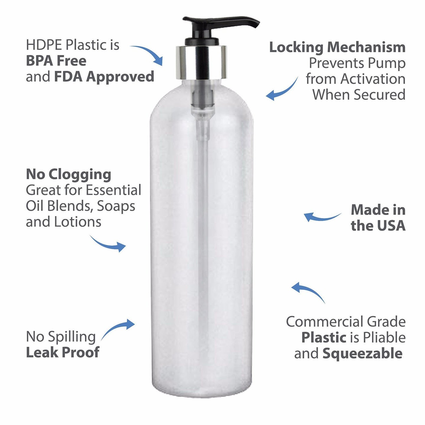 MoYo Natural Labs 16 oz Pump Dispenser, Empty Soap and Lotion Bottle with Locking Cap, BPA Free HDPE Plastic Containers for Essential Oils/Liquids (Pack of 6, Translucent White)