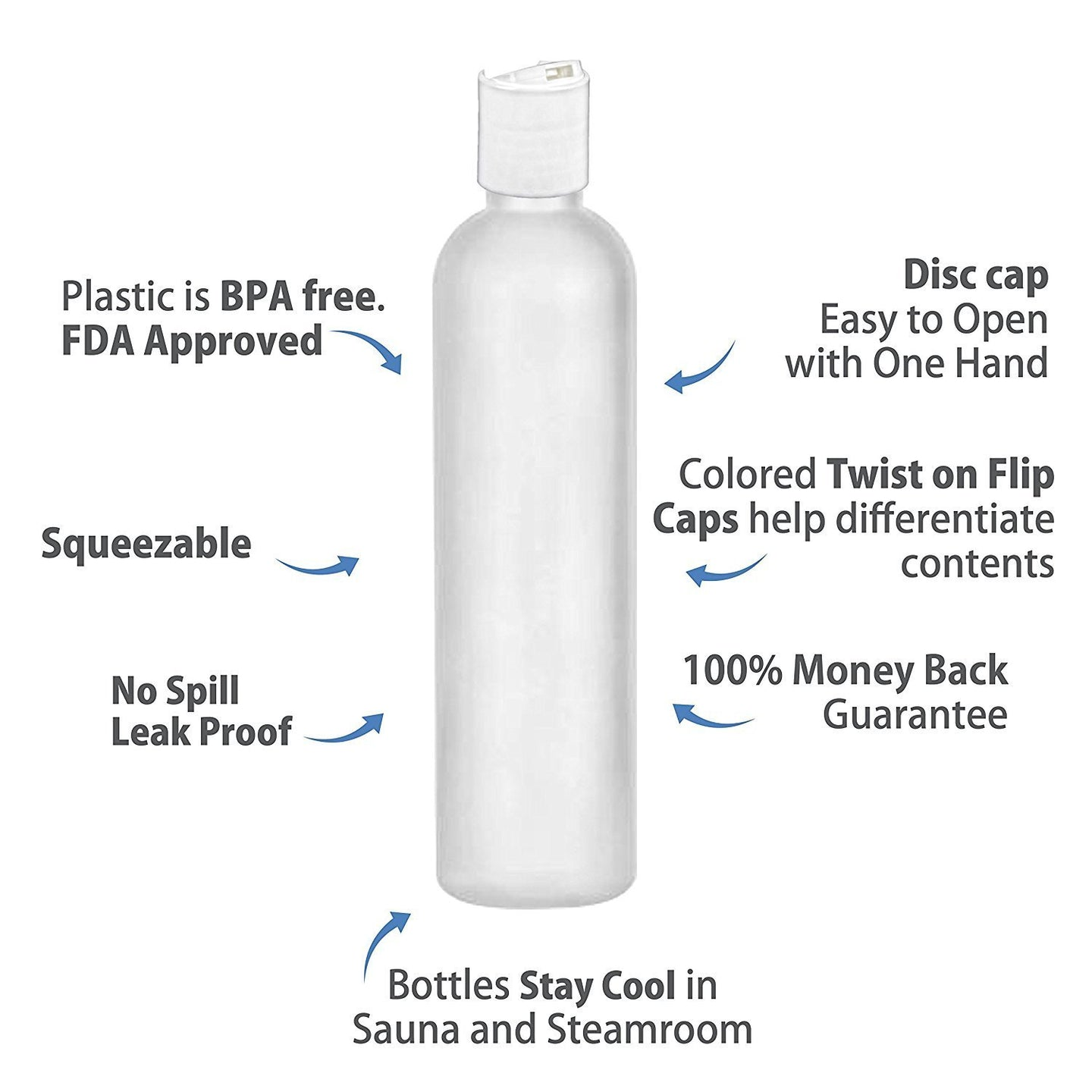 MoYo Natural Labs 8 oz Travel Bottles, Empty Travel Containers with Disc Caps, BPA Free HDPE Plastic Squeezable Toiletry/Cosmetic Bottles (Neck 24-410) (Pack of 4, HDPE Translucent White)