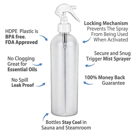 Moyo Natural Labs 16 Oz HDPE Hospital White Fine Mist Bottle with Trigger BPA Free Container Refillable Reusable Made in USA Commercial Grade (Pack of 3)