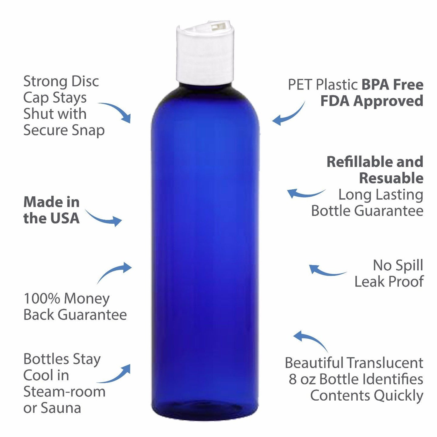 MoYo Natural Labs 4 oz Travel Bottles, Empty Travel Containers with Disc Caps, BPA Free PET Plastic Squeezable Toiletry/Cosmetic Bottles (Neck 24-410) (Pack of 8, Blue)