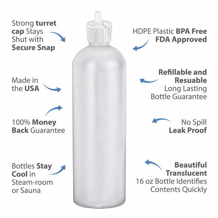 MoYo Natural Labs 16 oz Squirt Bottles, Squeezable Refillable Containers Turret Caps, BPA Free HDPE Plastic for Essential Oils and Liquids, Toiletry/Cosmetic Bottles (Pack of 50, Translucent White)