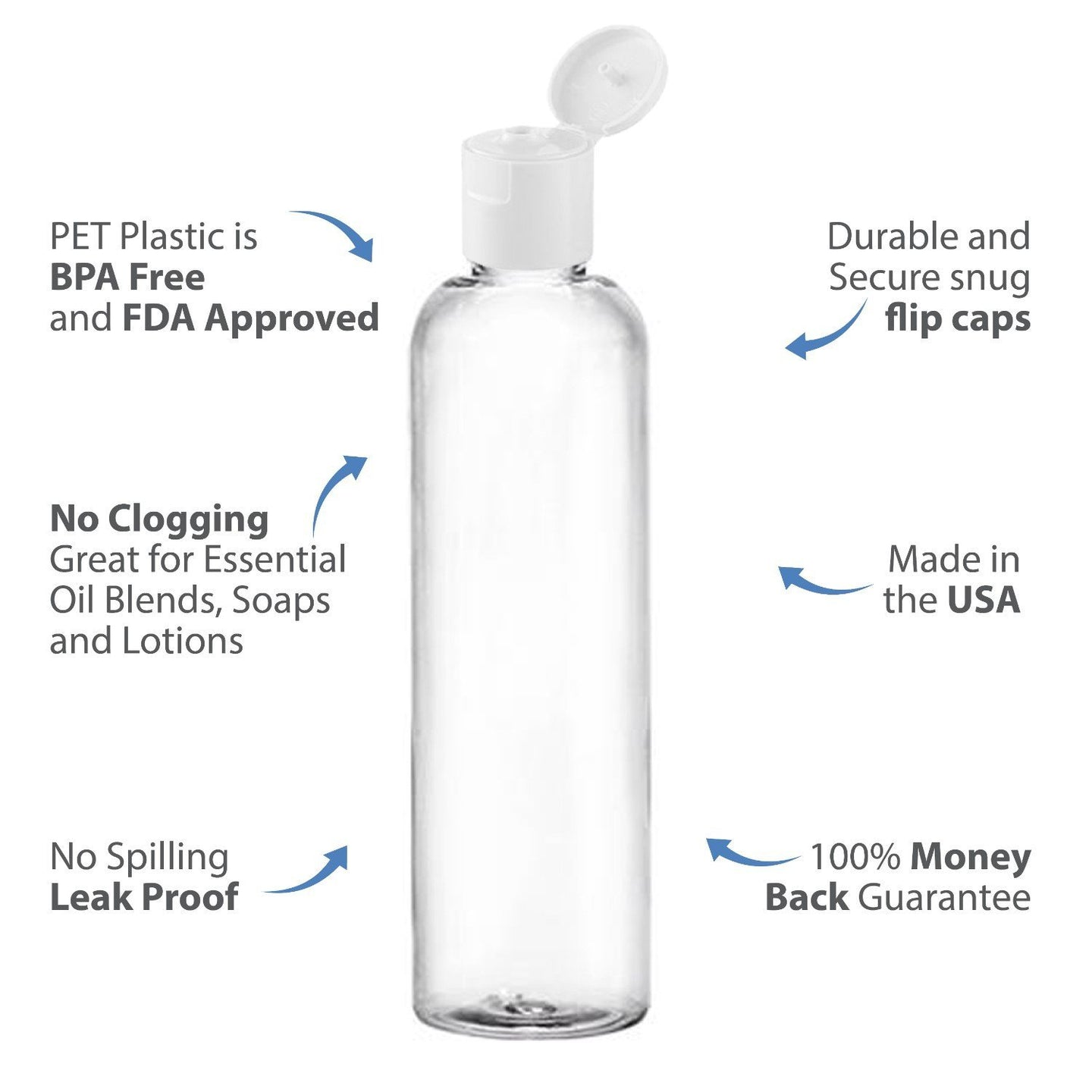 MoYo Natural Labs 8 oz Travel Bottles, Empty Travel Containers with Flip Caps, BPA Free PET Plastic Squeezable Toiletry/Cosmetic Bottles (6 pack, Clear)