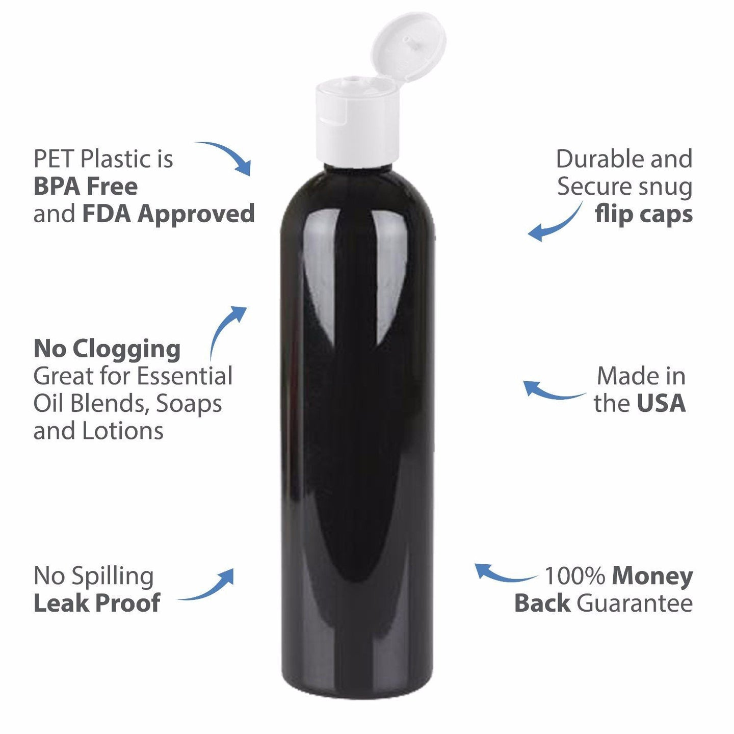 MoYo Natural Labs 8 oz Travel Bottles, Empty Travel Containers with Flip Caps, BPA Free PET Plastic Squeezable Toiletry/Cosmetic Bottles (3 pack, Black)