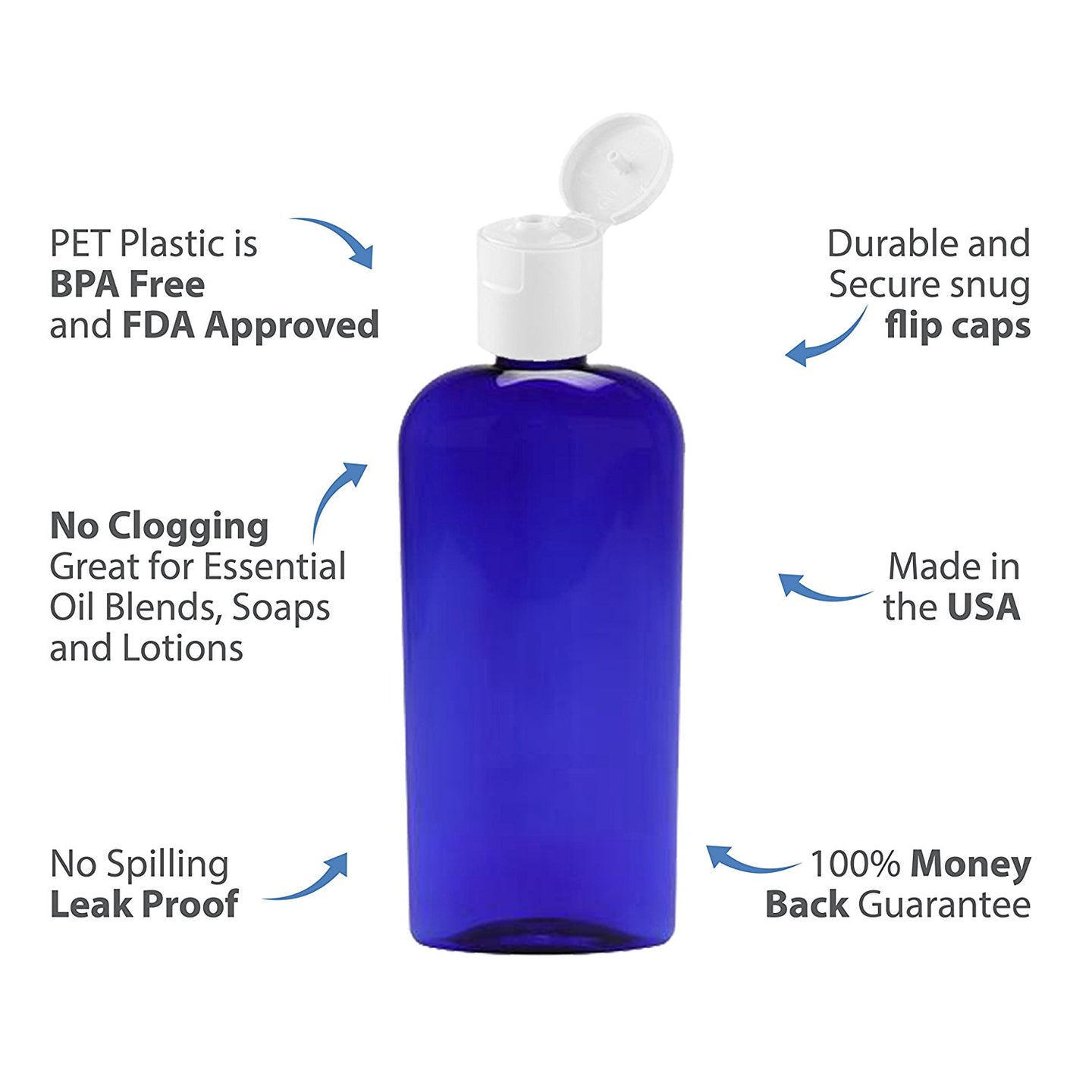 MoYo Natural Labs 8 oz Flip Cap Bottles, Empty Containers for Shampoo or Lotions, BPA Free PET Plastic Squeezable Toiletry/Cosmetic Bottles (6 pack, Cobalt Blue)