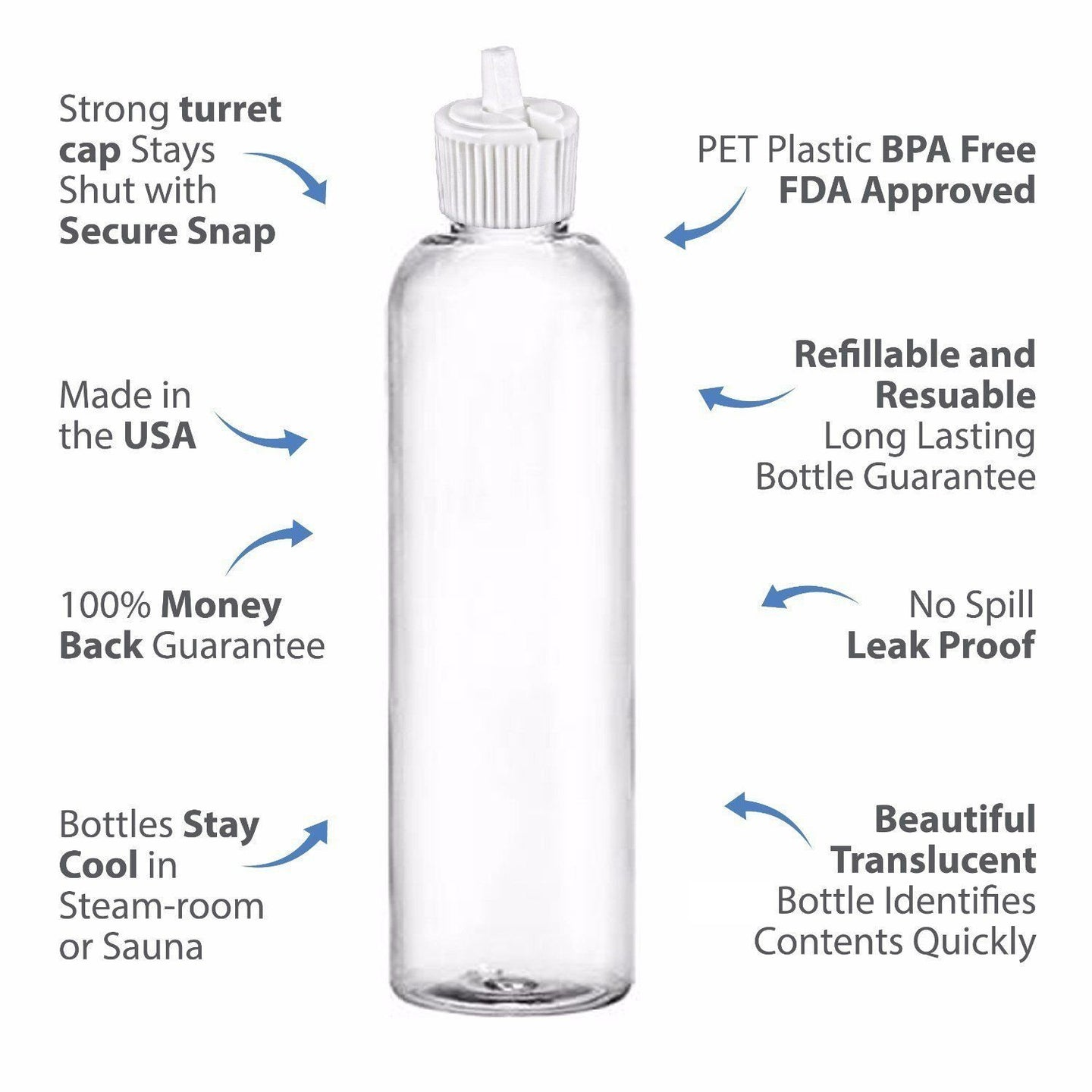 MoYo Natural Labs 4 oz Squirt Bottles, Squeezable Empty Travel Containers, BPA Free PET Plastic for Essential Oils and Liquids, Toiletry/Cosmetic Bottles (Neck 20-410) (Pack of 12, Clear)