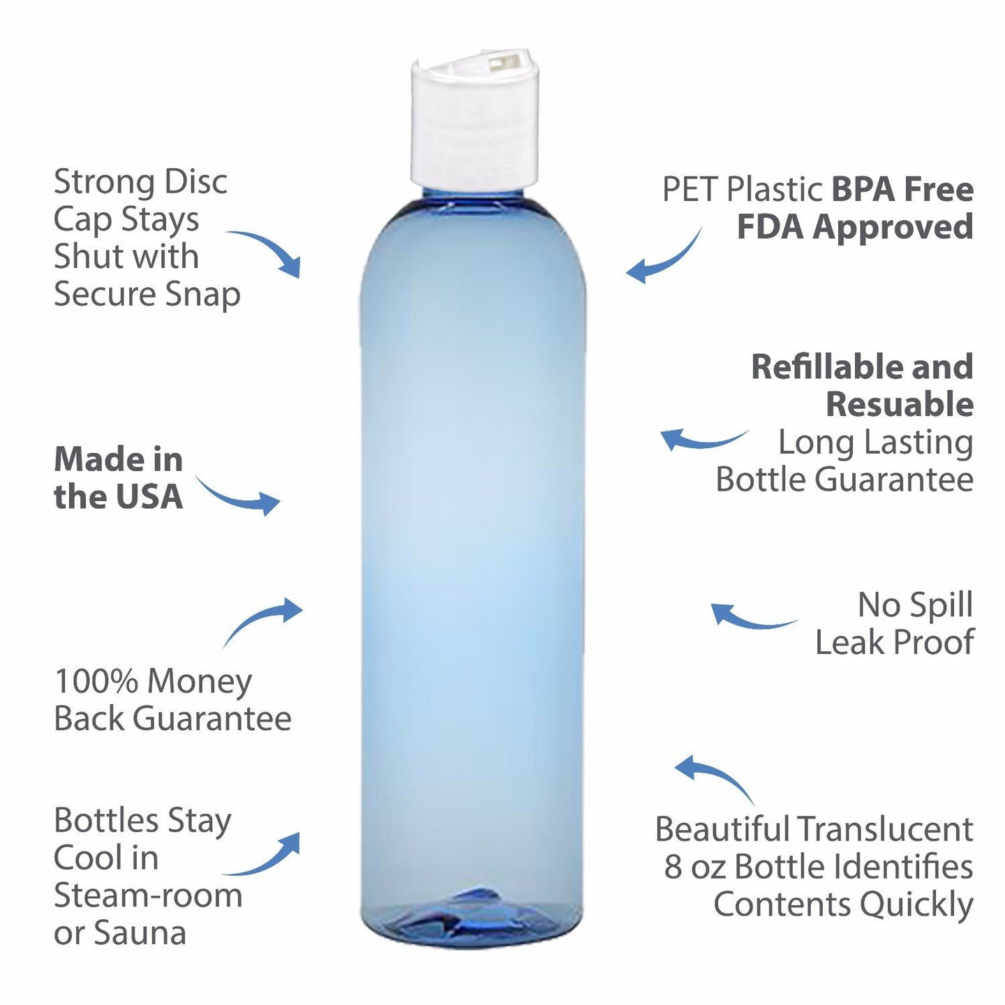 MoYo Natural Labs 8 oz Travel Bottles, Empty Travel Containers with Disc Caps, BPA Free PET Plastic Squeezable Toiletry/Cosmetic Bottles (Pack of 100, Light Blue)