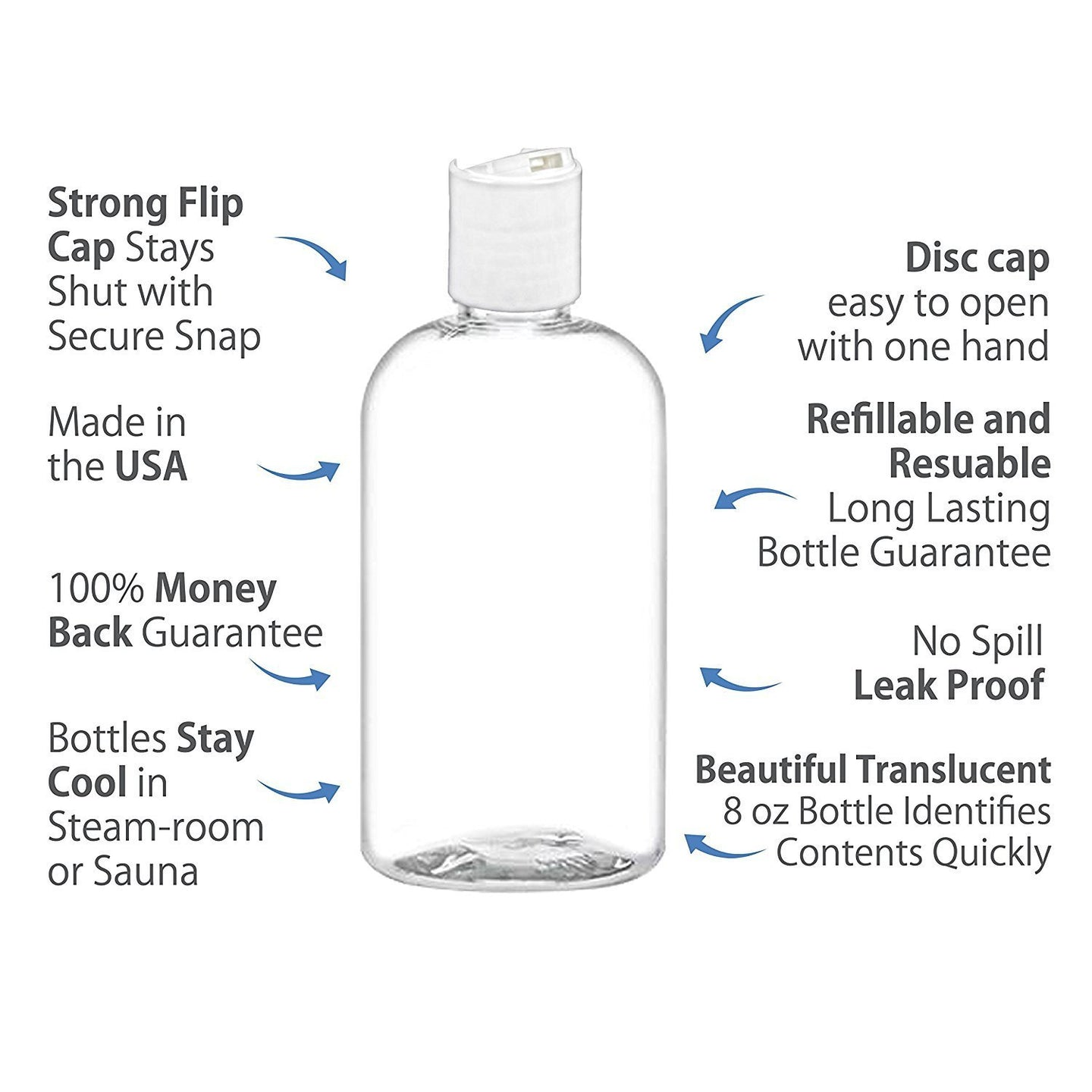 MoYo Natural Labs 8 oz Boston Travel Bottles, Empty Travel Containers with Disc Caps, BPA Free PET Plastic Refillable Toiletry/Cosmetic Bottle (Pack of 6, Clear)