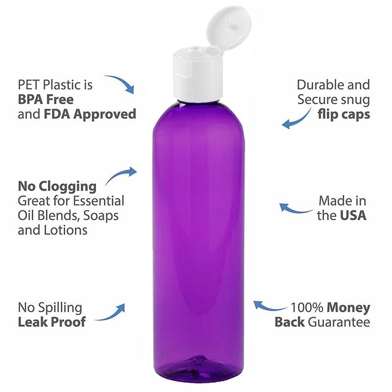 MoYo Natural Labs 4 oz Travel Bottles, Empty Travel Containers with Flip Caps, BPA Free PET Plastic Squeezable Toiletry/Cosmetic Bottles (Neck 20-410) (Pack of 12, Purple)