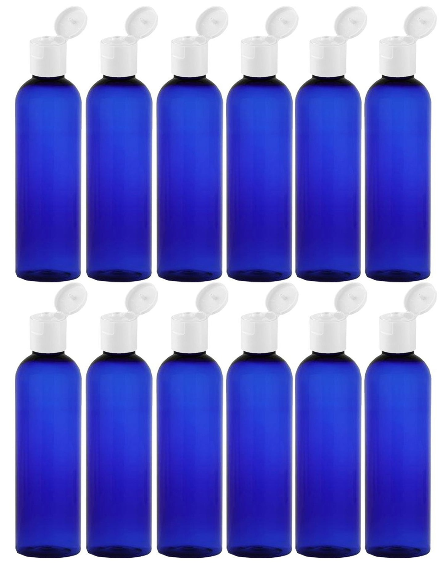 MoYo Natural Labs 4 oz Travel Bottles, Empty Travel Containers with Flip Caps, BPA Free PET Plastic Squeezable Toiletry/Cosmetic Bottles (Neck 20-410) (Pack of 12, Blue)