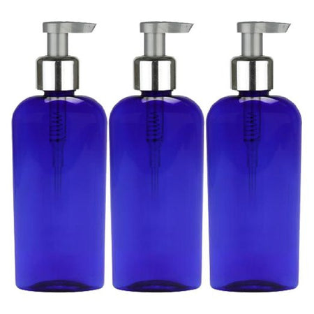 8 Oz PET Elegant Silver Lotion Pump - Blue 3 Pack