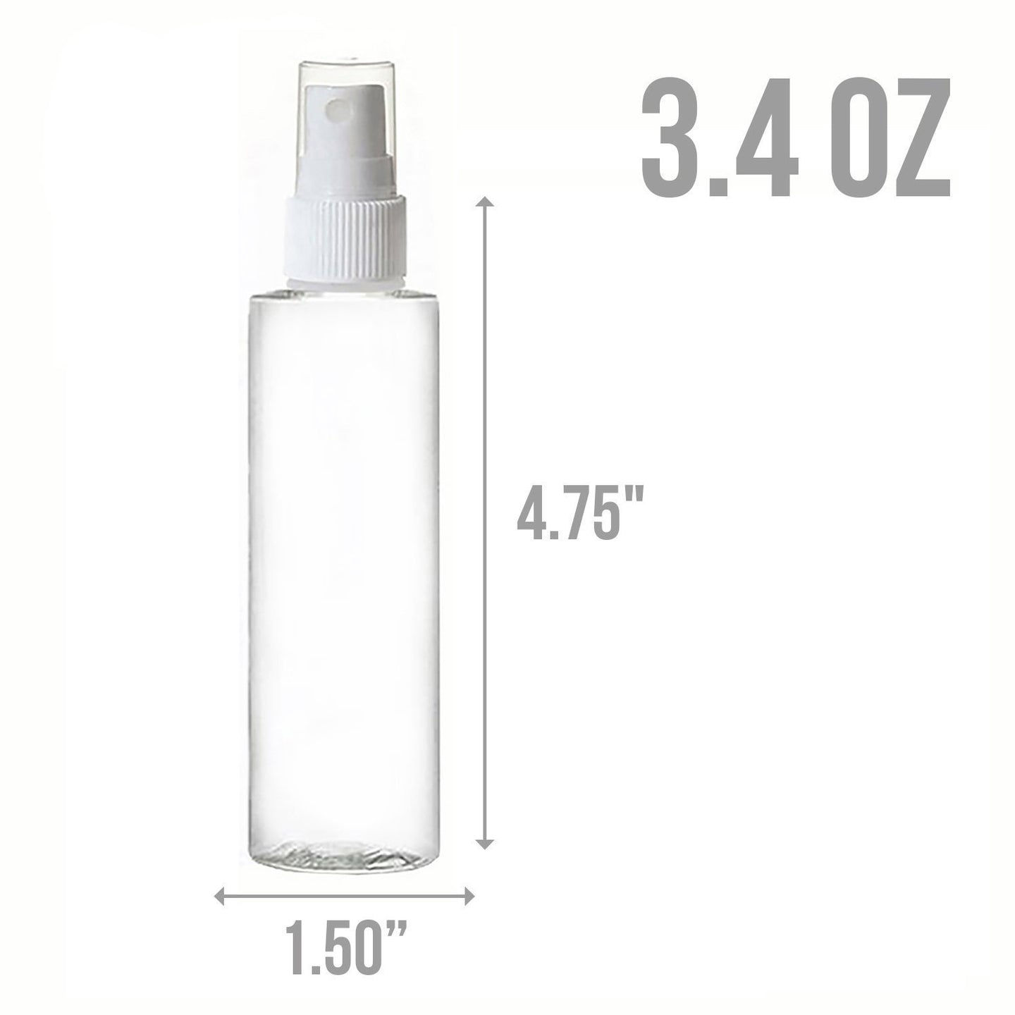 MoYo Natural Labs 3.4 oz Spray Bottles, TSA Approved Travel Bottles Fine Mist Pump Spray, Empty Travel Containers, BPA Free PET Plastic (Pack of 6)