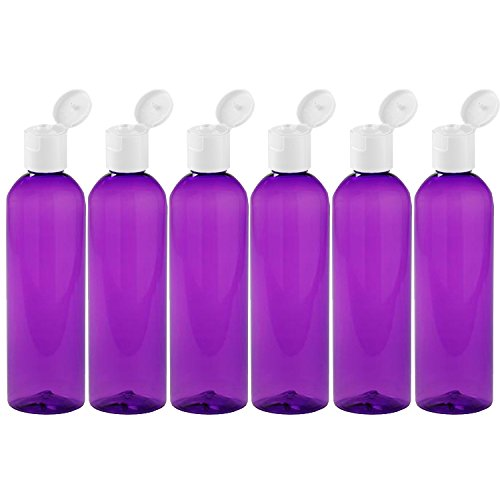 MoYo Natural Labs 8 oz Travel Bottle, Empty Travel Containers with Flip Caps, BPA Free PET Plastic Squeezable Toiletry/Cosmetic Bottle (6 Pack, Purple)