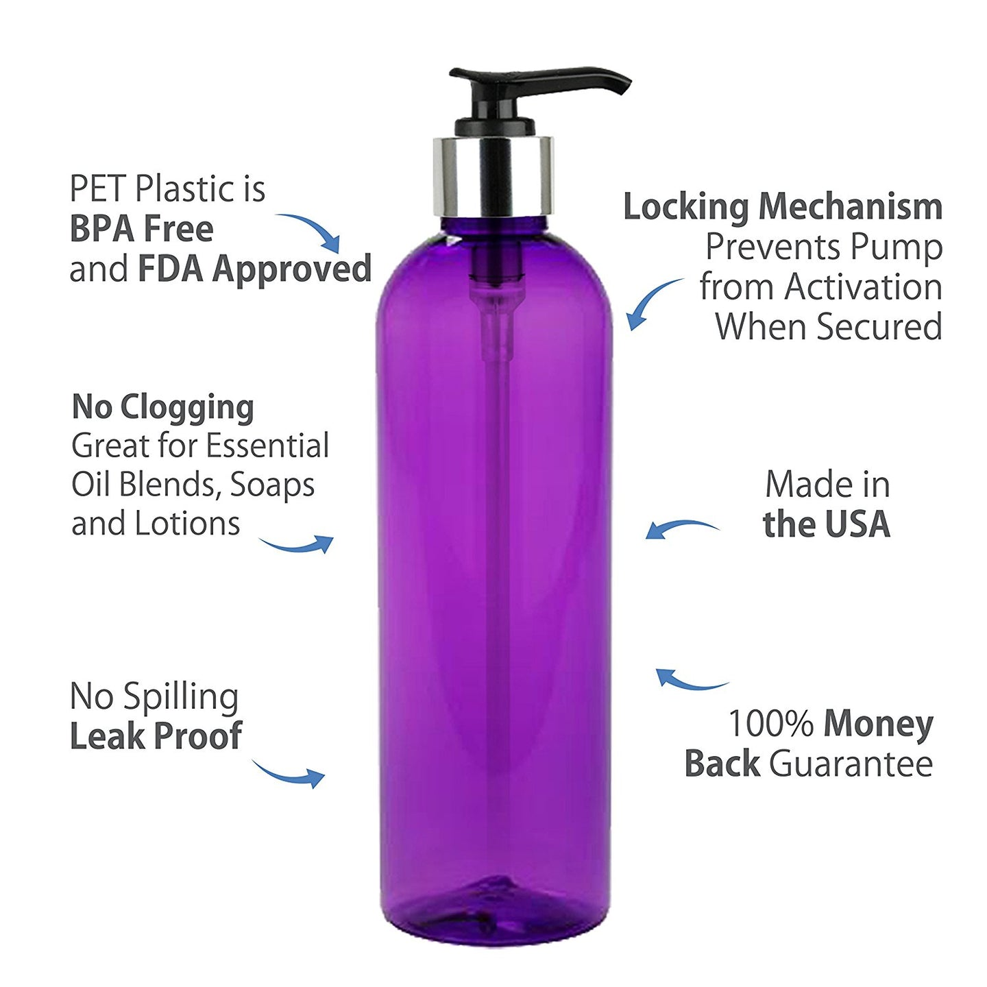 MoYo Natural Labs 8 oz Pump Dispenser, Empty Soap and Lotion Bottles with Locking Cap, BPA Free PET Plastic Containers for Essential Oils/Liquids (2 Pack, Purple)