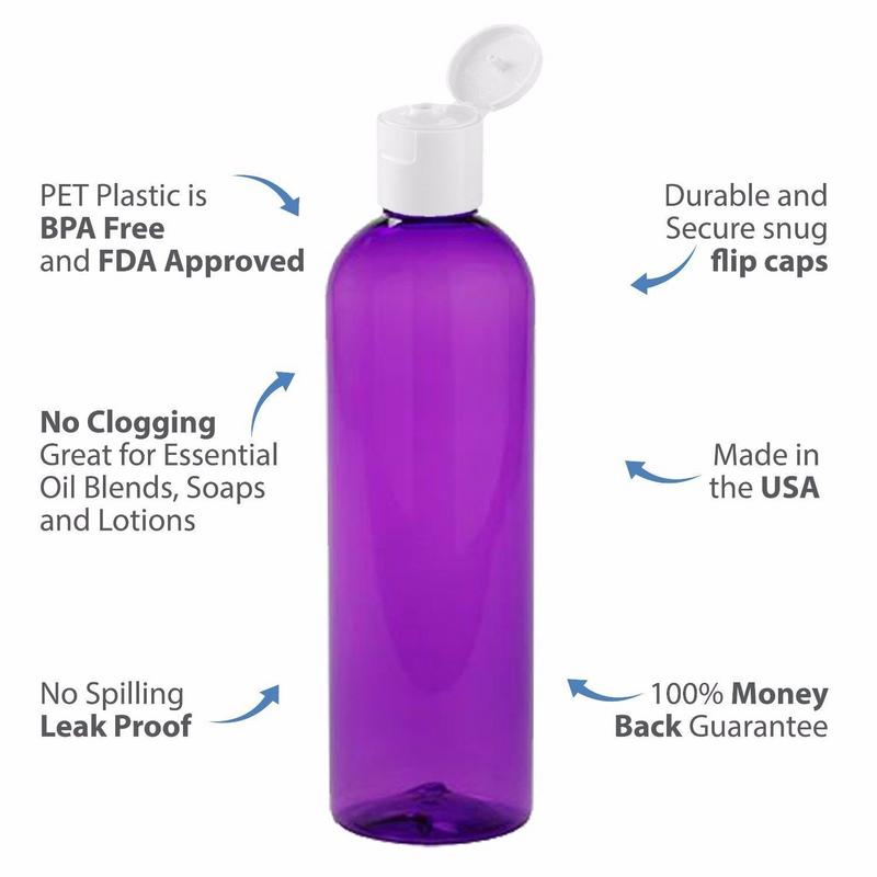 MoYo Natural Labs 8 oz Travel Bottle, Empty Travel Containers with Flip Caps, BPA Free PET Plastic Squeezable Toiletry/Cosmetic Bottle (50 Pack, Purple)