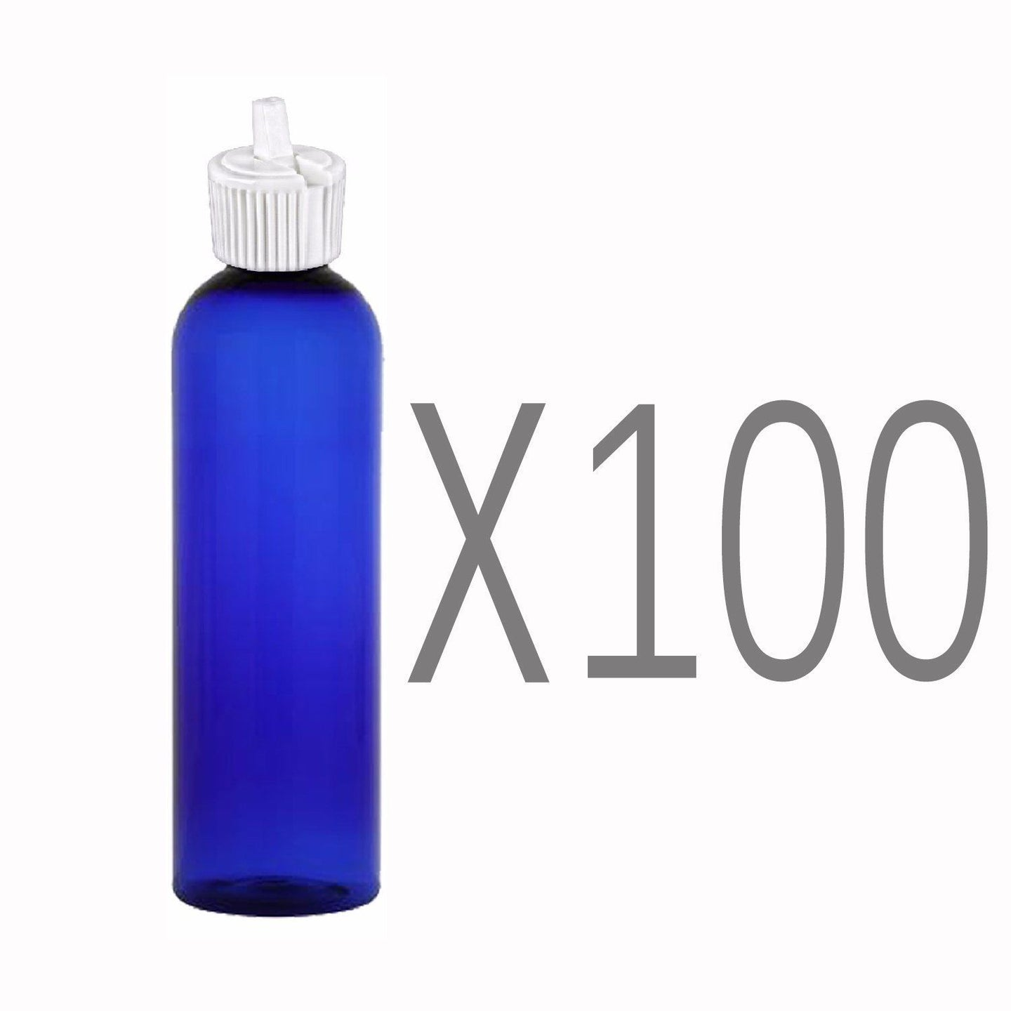 MoYo Natural Labs 4 oz Squirt Bottles, Squeezable Empty Travel Containers, BPA Free PET Plastic for Essential Oils and Liquids, Toiletry/Cosmetic Bottles (Neck 20-410) (Pack of 100, Blue)