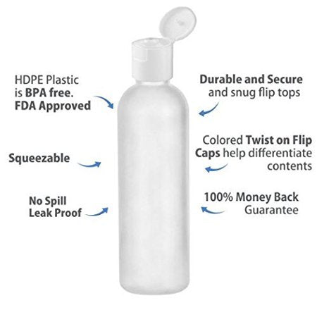 MoYo Natural Labs 4 oz Travel Bottles, Empty Travel Containers with Flip Caps, BPA Free HDPE Plastic Squeezable Toiletry/Cosmetic Bottles (Neck 20-410) (Pack of 4, HDPE Translucent White)