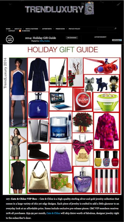 Cate & Chloe featured on the Trend Luxury Holiday Gift Guide