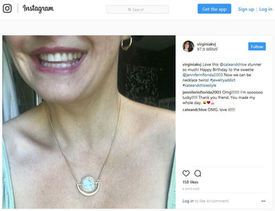 "Virginia Sinicki of 97.9 WRMF Shows off the C&C Margaret ""Protected"" Statement Necklace!"
