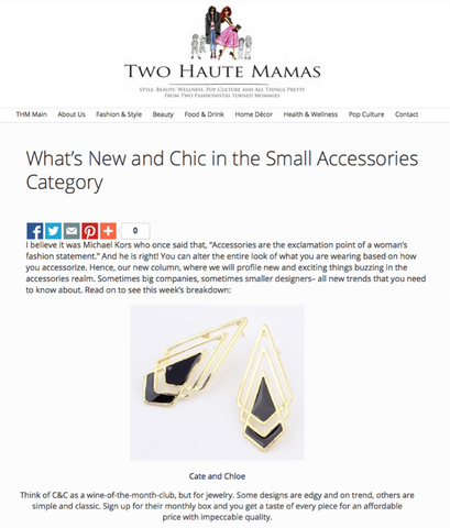 Cate & Chloe's Statement Accessories Featured on Two Haute Mamas