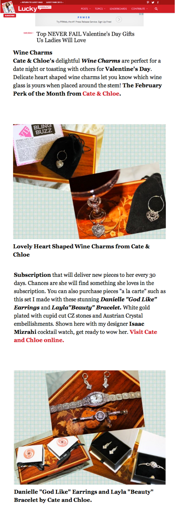 Cate & Chloe featured on Lucky Magazine Community