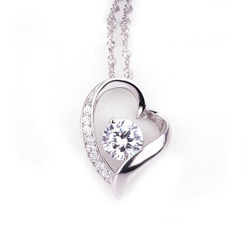 "REMOVED - Dora ""Gift"" Glitzy Heart Pendant Necklace - Cate & Chloe  - 1"