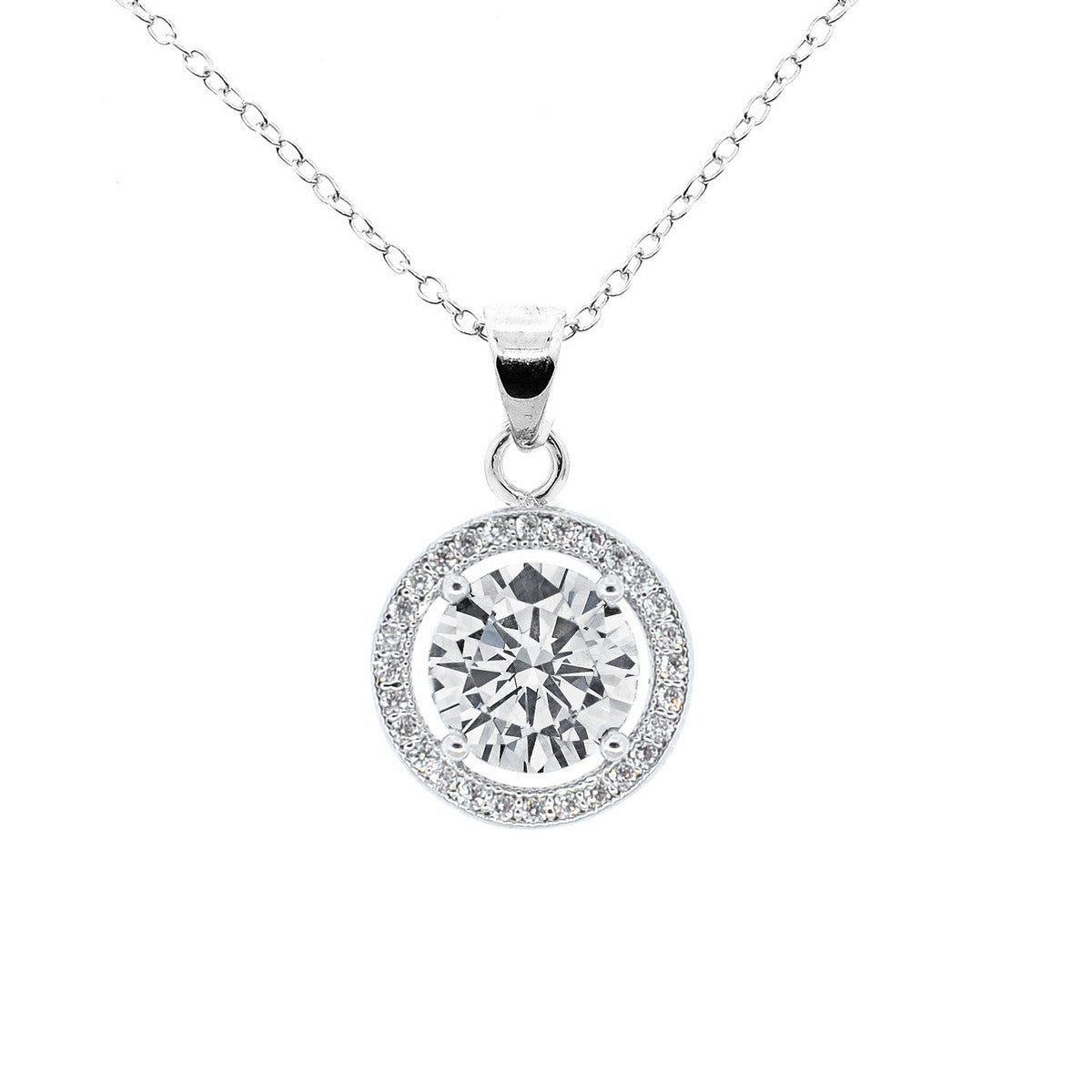 Blake 18k White Gold Plated Pendant Necklace Cate Chloe Jewelry
